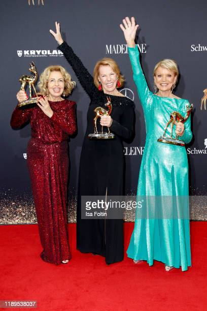 Award winners German actress Michaela May German actress Gabi Dohm and German actress Uschi Glas pose with award during the 71st Bambi Awards winners...