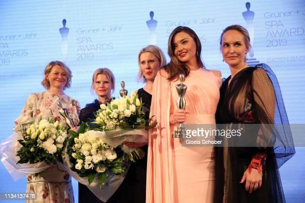 Award winners Maren Speckmann-Munz and Nicoline Woehrle , Kerstin Unger , beauty idol Miranda Kerr, Editor-in-chief Gala Anne Meyer-Minnemann during...