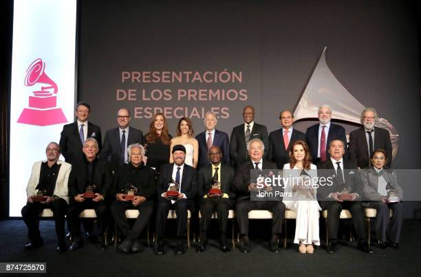 Award winners onstage at the 2017 Latin Recording Academy Special Awards during the The 18th Annual Latin Grammy Awards at the Four Seasons on...