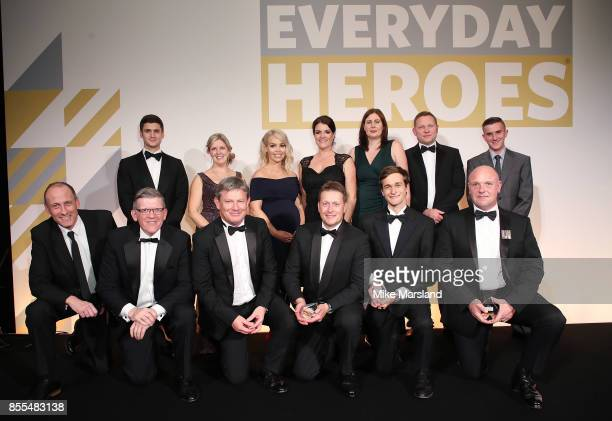 Award winners pose on stage at the St John Ambulance's Everyday Heroes Awards Mark Goatcher Sarah Turner Katie Piper Alex McHugh Natasha Jones Nathan...