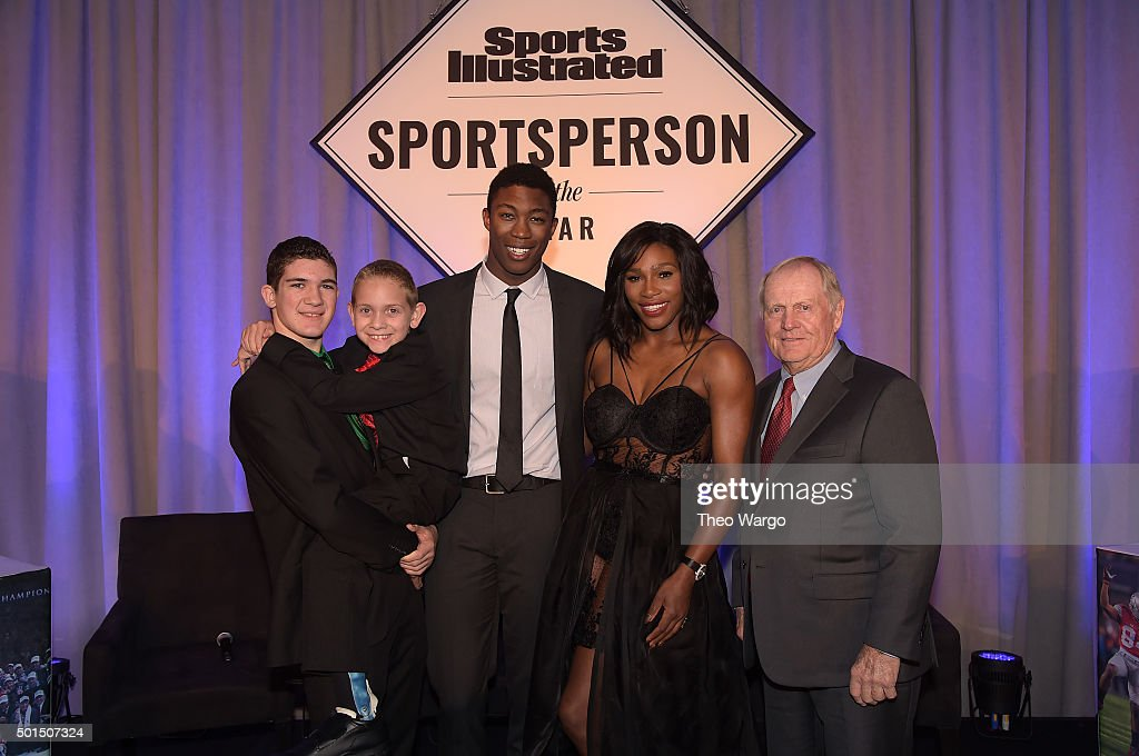 Award winners SI High School Athlete of the Year Hunter Gandee, with brother Braden Gandee, SI Kids 2015 SportsKid of the Year Reece Whitley, SI 2015 Sportsperson of the Year Serena Williams and SI Muhammad Ali Legacy Award Recipient Jack Nicklaus speak on stage during Sports Illustrated Sportsperson of the Year Ceremony 2015 at Pier 60 on December 15, 2015 in New York City.