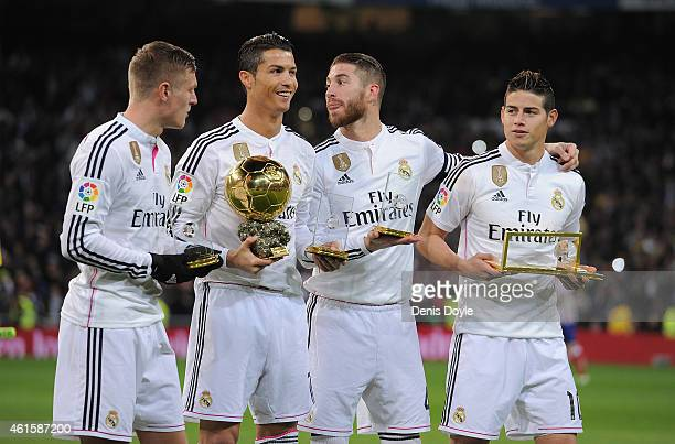 FIFA award winners Toni Kroos Cristiano Ronaldo Sergio Ramos and James Rodriguez with trophies ahead of the Copa del Rey Round of 16 Second leg match...