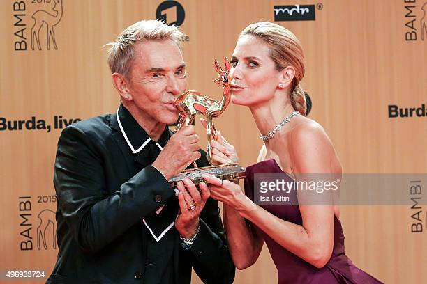 Award winners Wolfgang Joop and Heidi Klum attend the Kryolan At Bambi Awards 2015 Red Carpet Arrivals on November 12 2015 in Berlin Germany