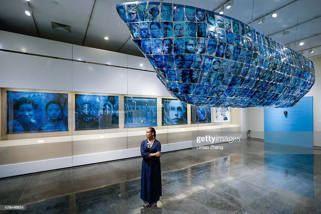 American Artist Toni Scott Holds Her Art Exhibition At Peking University : News Photo