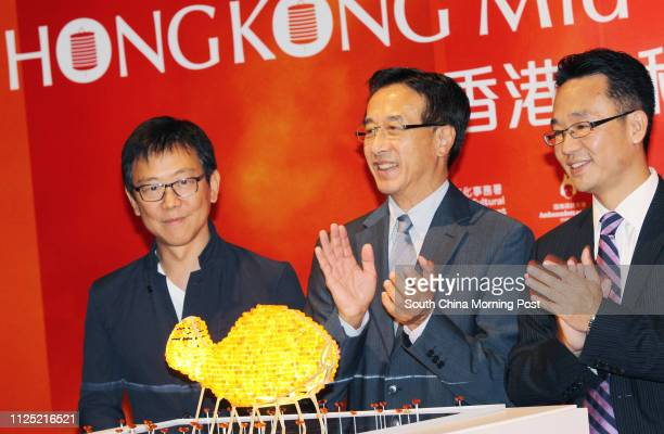Award Winning Designer William Lim Hong Kong Tourism Board chairman James Tien and Managing Director of North Asia Pacific Region Lee Kum Kee Trading...