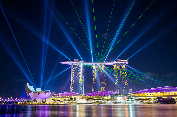 marina bay sands laser light show pictures getty images