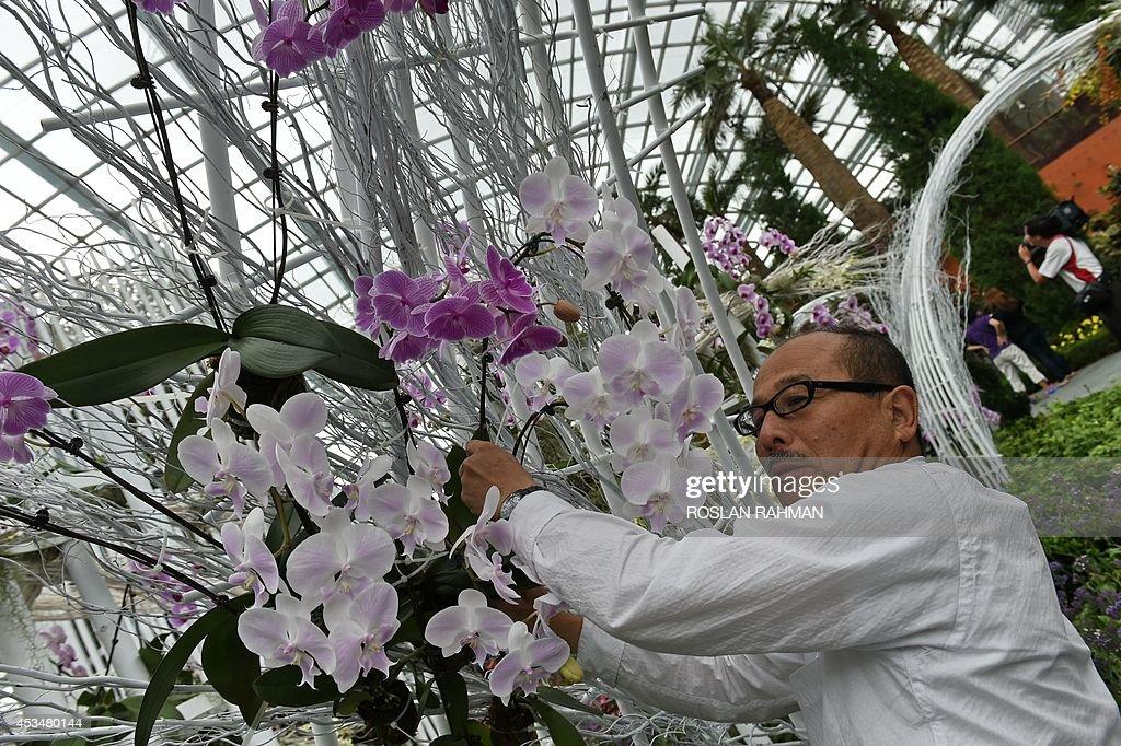award winning japanese landscape designer jun ichi inada decorates his floral display featuring 18000
