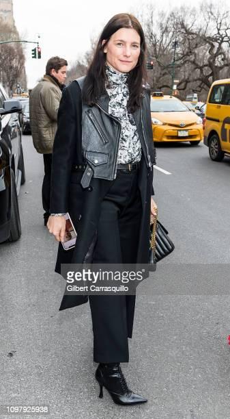 Award Winning Shoe Designer Tabitha Simmons is seen leaving the Carolina Herrera Fall/Winter 2019 Fashion Show during New York Fashion Week at the...