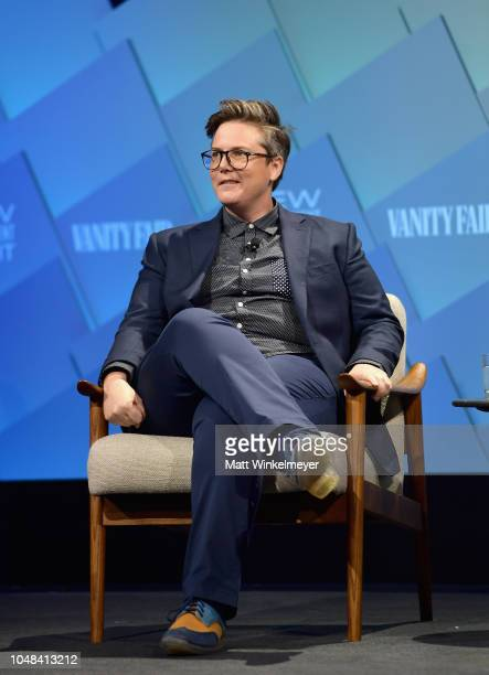 Award winning standup comedian and creator of Nanette Hannah Gadsby speaks onstage at Day 1 of the Vanity Fair New Establishment Summit 2018 at The...