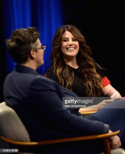 Award winning standup comedian and creator of Nanette Hannah Gadsby and Contributing editor at Vanity Fair Monica Lewinsky speak onstage at Day 1 of...