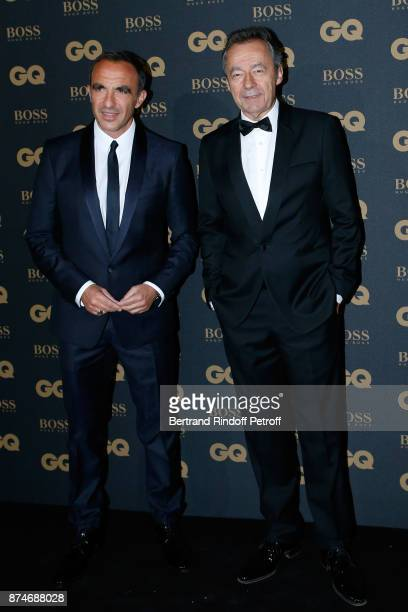Awarded as Animator of the year Nikos Aliagas and Chief Editor of Vanity Fair France Michel Denisot attend the GQ Men of the Year Awards 2017 at Le...