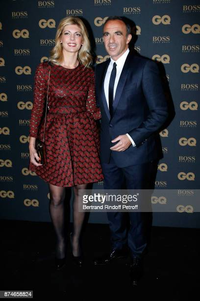 Awarded as Animator of the year Nikos Aliagas and his companion Tina Grigoriou attend the GQ Men of the Year Awards 2017 at Le Trianon on November 15...