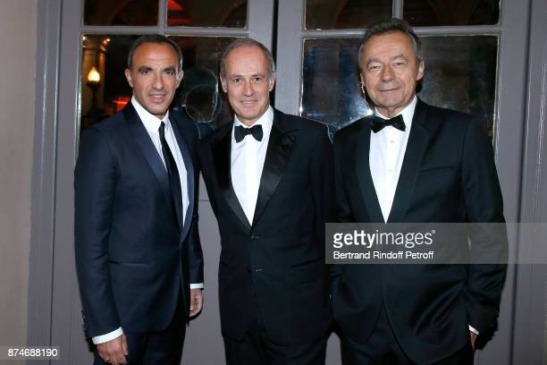 Awarded as Animator of the year Nikos Aliagas CEO of Condenast France Xavier Romatet and Chief Editor of Vanity Fair France Michel Denisot attend the...