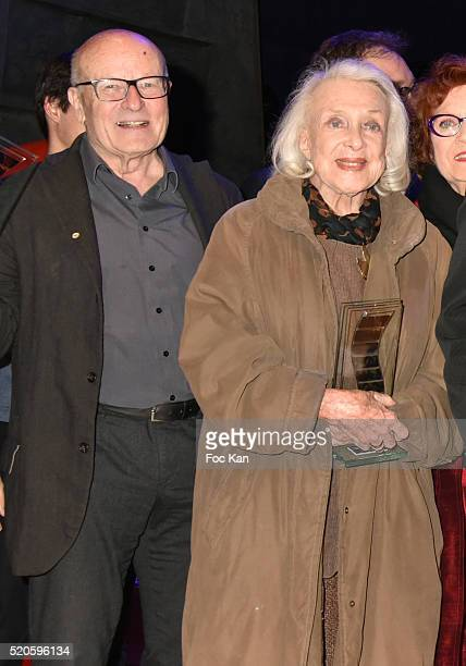 Awarded director Volker Schlondorff and awarded actress Micheline Presle attend Henri Langlois 11th Award Ceremony At Maison de La Radio on April 11...