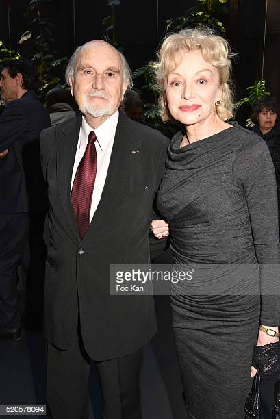 Awarded producer Jean Louis Livi and Caroline Sihol and Frederic Vidal attend Henri Langlois 11th Award Ceremony At Maison de La Radio on April 11...