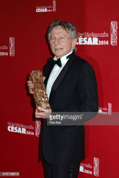 Awarded Roman Polanski poses with his Cesar in the awards room during the 39th Cesar Film Awards 2014 at Theatre du Chatelet on February 28 2014 in...