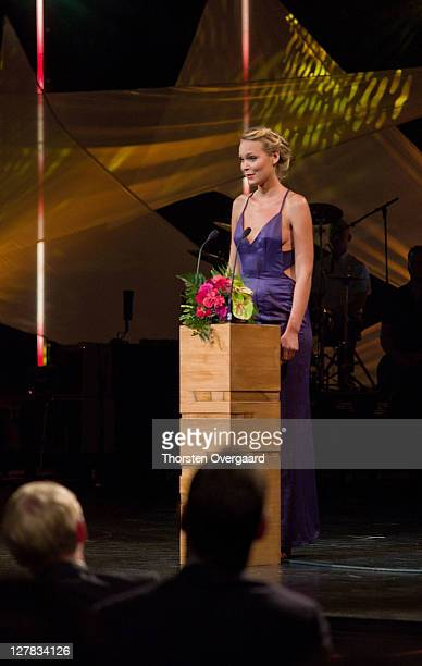 Awardee Danish writer Josefine Klougart speaks at the award show of Crown Prince Frederik and Crown Princess Mary at Musikhuset Aarhus on October 1...