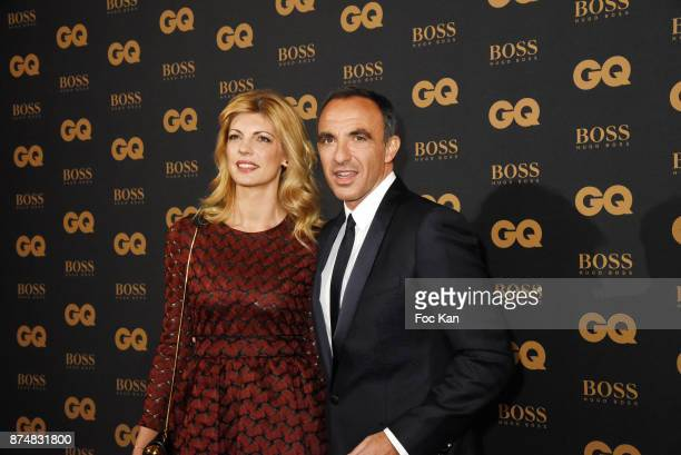 GQ 2017 awarder presenter Nikos Aliagas and Tina Grigoriou attend the Les GQ Men Of The Year Awards 2017 Photocall at Trianon on November 15 2017 in...
