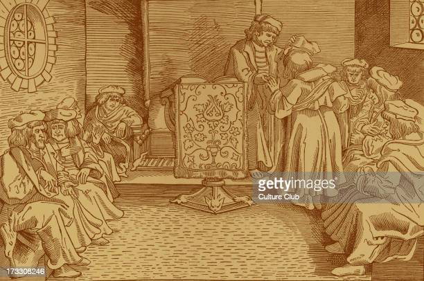 Awarding of a doctorate From reproduction of 14th century wood engraving taken from German edition of Cicero 's 'De Officius'