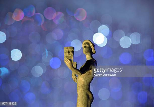 Awards Actor statuette is displayed during rehearsals at the 22nd Annual Screen Actors Guild Awards Red Carpet RollOut and BehindTheScenes at the...