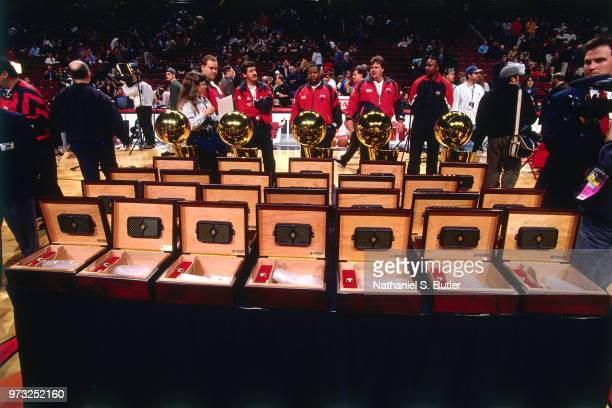 Awards and trophies are shown during a game played on November 1 1997 at the First Union Arena in Philadelphia Pennsylvania NOTE TO USER User...