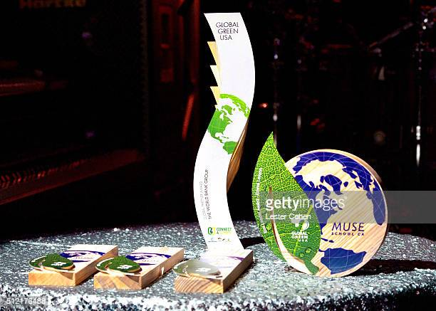 Awards are displayed onstage during Global Green USA's 13th annual preOscar party at Mr C Beverly Hills on February 24 2016 in Los Angeles California