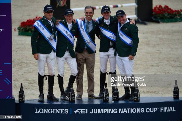awards ceremony for the Irish team Longines FEI Jumping Nations Cup Final 2019 world champion Paul O'Shea Peter Moloney Chef d'Equipe Rodrigo Pessoa...