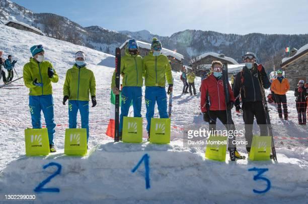 Awards ceremony in the Male category Robert Antonioli, Davide Magnini, Matteo Eydallin, Michele Boscacci, Wiliam Boffelli, Alex Oberbacher during...