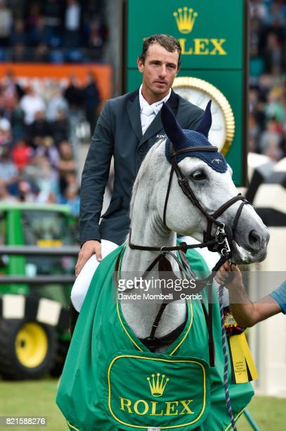 awards ceremony the winner Gregory Wathelet of Belgium riding Coree during Rolex Grand Prix CHIO World Equestrian Festival Aachen on July 23 2017 in...