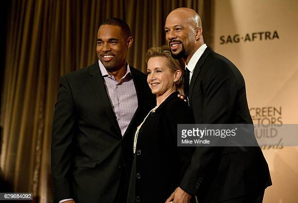 SAG Awards Committee Chair Jason George SAGAFTRA president Gabrielle Carteris and actor/recording artist Common attend the 23rd Annual SAG Award...