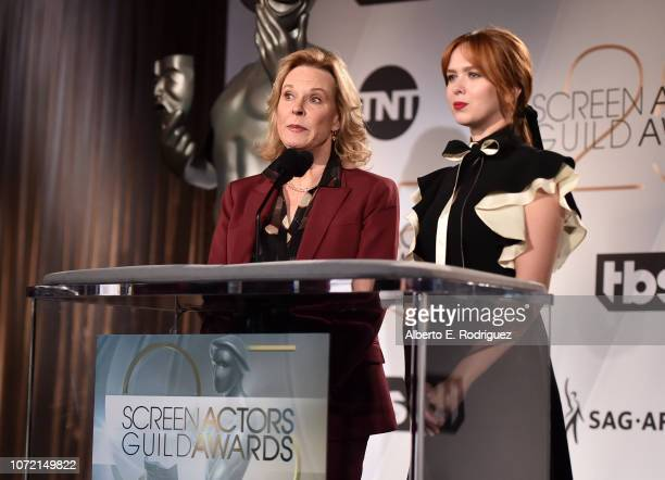 Awards Committee Chair JoBeth Williams and SAG Awards Committee Member Elizabeth Mclaughlin speak onstage during the 25th Annual Screen Actors Guild...