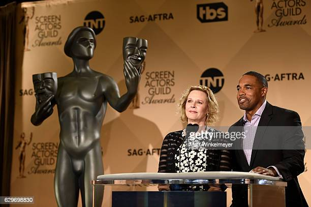 Awards Committee Chairs JoBeth Williams and Jason George speak onstage during the SAG Awards Online Holiday Auction benefits the SAGAFTRA Foundation...