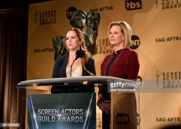 Awards Committee Member Elizabeth McLaughlin and SAG Awards Committee Chair JoBeth Williams speak onstage during the 24th Annual SAG Awards...