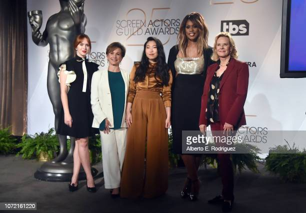 SAG Awards Committee Member Elizabeth Mclaughlin SAGAFTRA President Gabrielle Carteris Awkwafina Laverne Cox and SAG Awards Committee Chair JoBeth...