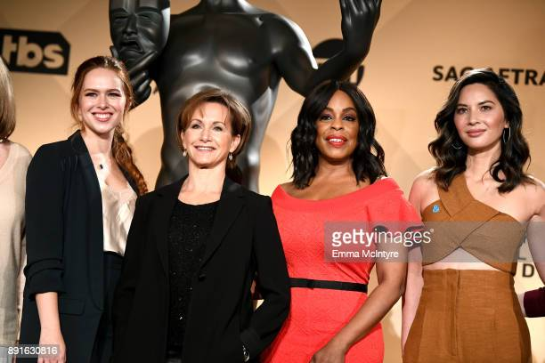 SAG Awards Committee Member Elizabeth McLaughlin SAGAFTRA President Gabrielle Carteris actors Niecy Nash and Olivia Munn at the 24th Annual Screen...