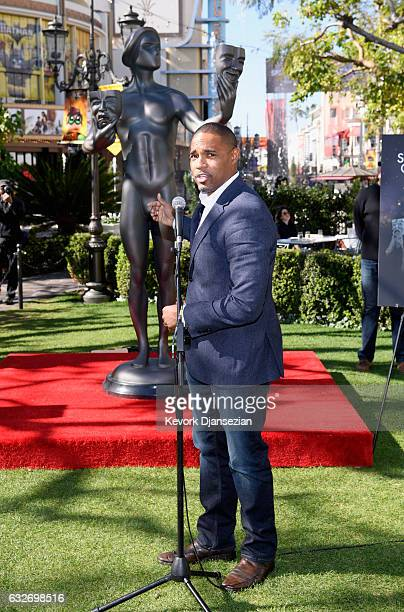 Awards Committee Member Jason George speaks during The 23rd Annual Screen Actors Guild Awards Greet The Actor at The Grove on January 25 2017 in Los...