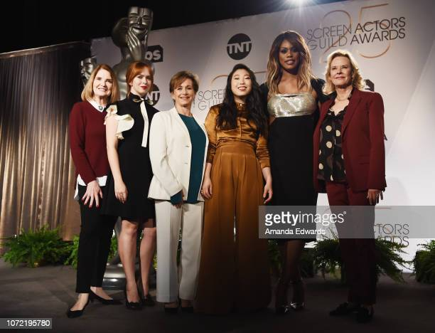 SAG Awards Executive Producer Kathy Connell and actresses Elizabeth McLaughlin Gabrielle Carteris Awkwafina Laverne Cox and JoBeth Williams attend...