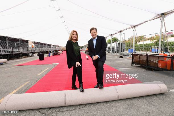 Awards Executive Producer Kathy Connell and KTLA Entertainment Reporter Sam Rubin at the 24th Annual Screen Actors Guild Awards Behind The Scenes Day...
