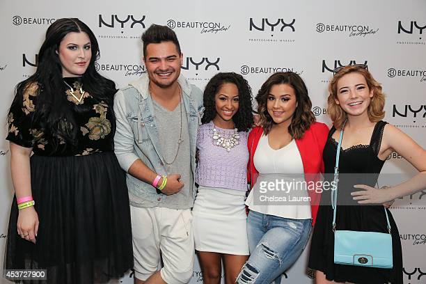 NYX FACE awards finalists Bailey Vanderveen Alex Rivera Kennedy Knight Ashley Mitchell and Erin Timony attend BeautyCon LA talent lounge sponsored by...