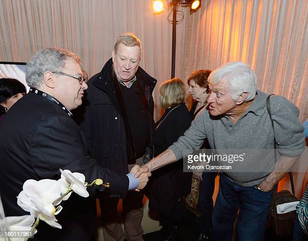 Awards honoree Dick Van Dyke greets Steve Koonin president of Turner Entertainment Networks as SAGAFTRA CoPresident Ken Howard look on in the Green...