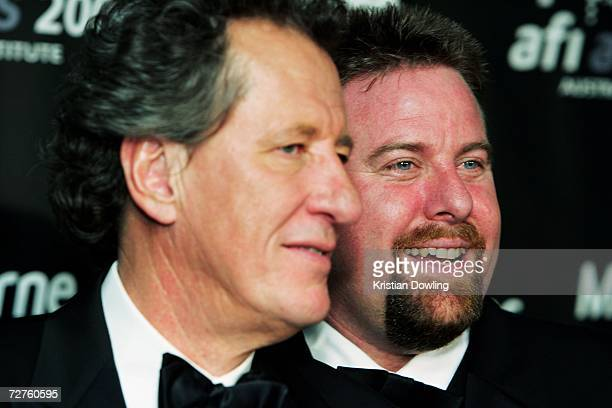 Awards host Geoffrey Rush poses with actor Shane Jacobson and Shane's award for Best Actor in a Lead Role for Kenny backstage at the L'Oreal Paris...