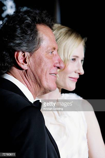 Awards host Geoffrey Rush poses with actress and AFI Ambassador Cate Blanchett backstage at the L'Oreal Paris 2006 AFI Awards at the Melbourne...