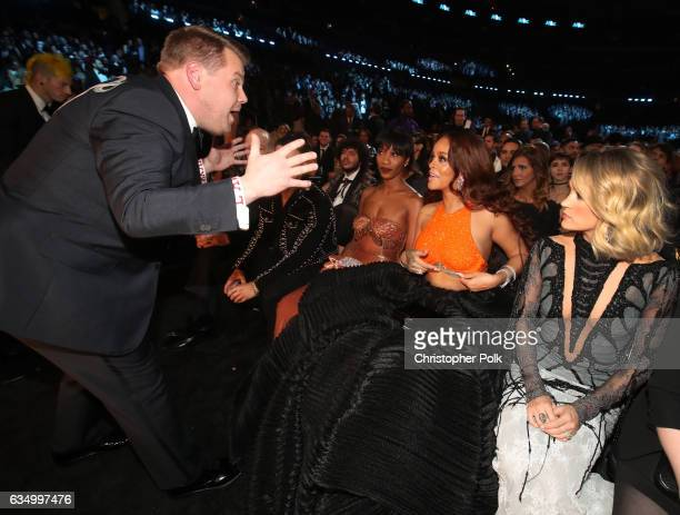 GRAMMY Awards host James Corden Melissa Forde singers Rihanna and Carrie Underwood during The 59th GRAMMY Awards at STAPLES Center on February 12...