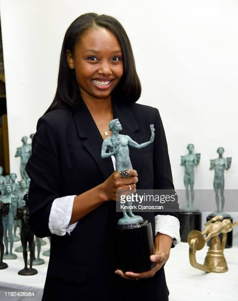 Awards Nominee Ashleigh LaThrop for The Handmaid's Tale poses with a Screen Actors Guild Award statuette in preparation of the 26th Annual SAG Awards...