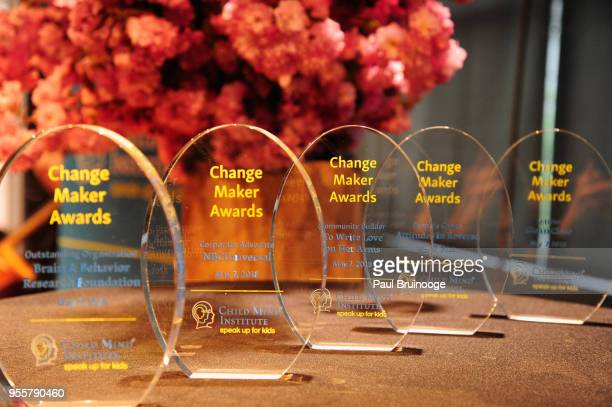 Awards on display at the 2018 Change Maker Awards at Carnegie Hall on May 7 2018 in New York City