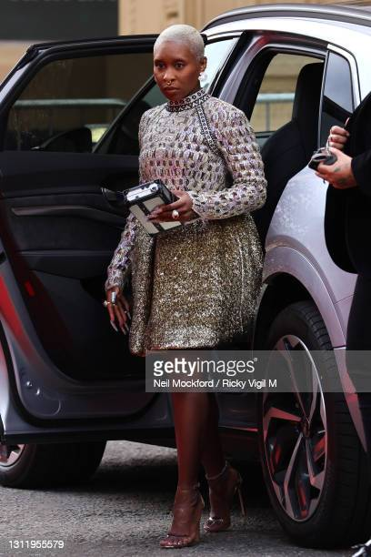 Awards Presenter Cynthia Erivo seen arriving at the EE British Academy Film Awards 2021 at the Royal Albert Hall on April 11, 2021 in London, England.