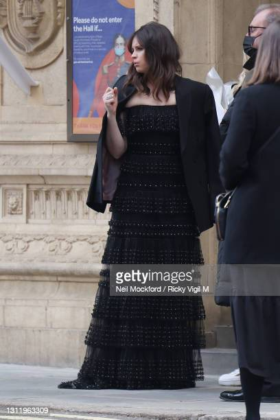 Awards Presenter Felicity Jones seen arriving at the EE British Academy Film Awards 2021 at the Royal Albert Hall on April 11, 2021 in London,...