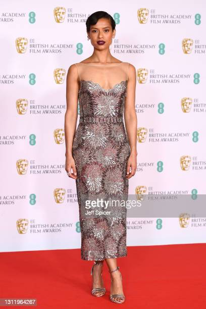 Awards Presenter Gugu Mbatha-Raw attends the EE British Academy Film Awards 2021 at the Royal Albert Hall on April 11, 2021 in London, England.