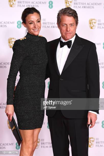 Awards Presenter Hugh Grant and wife Anna Elisabet Eberstein attends the EE British Academy Film Awards 2021 at the Royal Albert Hall on April 11,...