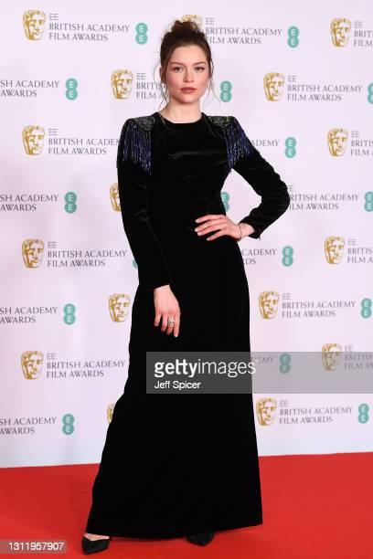 Awards Presenter Sophie Cookson attends the EE British Academy Film Awards 2021 at the Royal Albert Hall on April 11, 2021 in London, England.